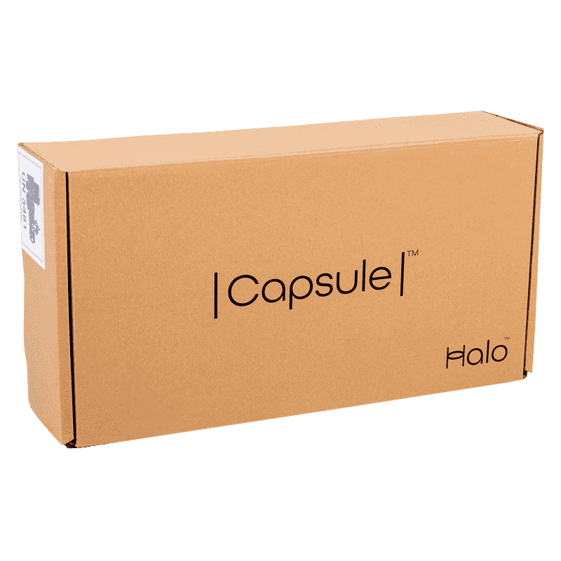A box containing a Halo Capsule vacuum cleaner